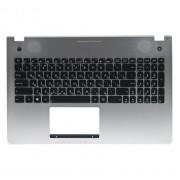 Верхняя панель с клавиатурой Asus N56, N56D, N56DP, N56DP, N56DY, N56JK, N56JN, N56JR, N56V, N56VB, N56VJ, N56VM, N56VV, N56VZ Серебряная, с подсветкой