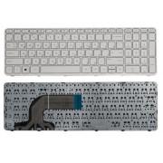 Клавиатура для ноутбука HP 250 G3, 255 G2, 255 G3, Pavilion 15-d, 15-e, 15-g, 15-n, 15-r, 15-s, 15t-e, 15t-n, 15z-e, 15z-n Белая, с рамкой